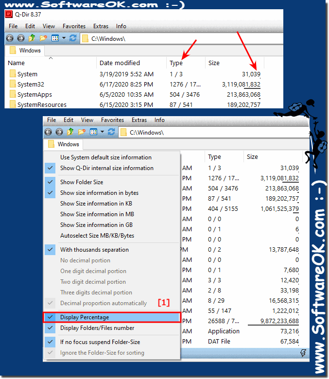 File and Folder-Size Display Precentage