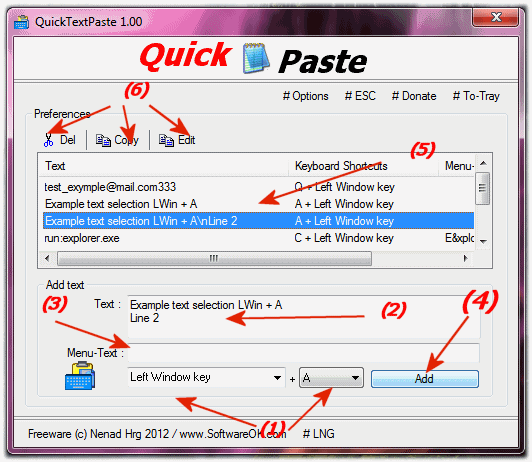 add Keyboard shortcut for quick text paste