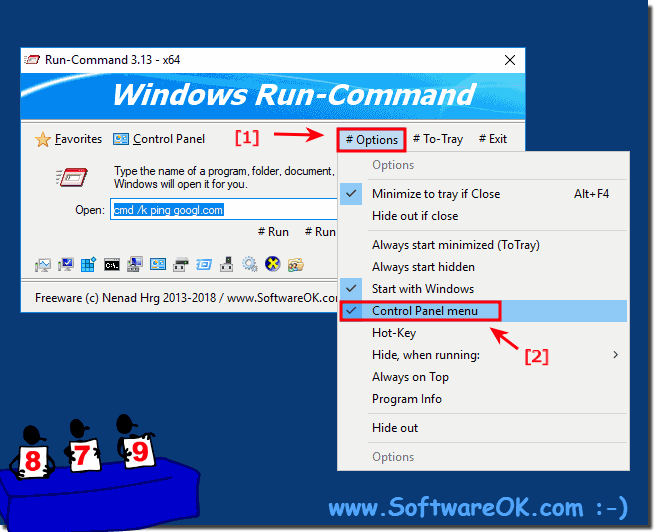 Activate control panel in Run-Dialog for Windows!