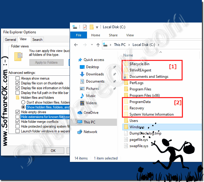 Alert at hidden files and folders on Windows-10!