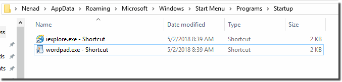 Shortcut in auto startup folder on Windows-10!