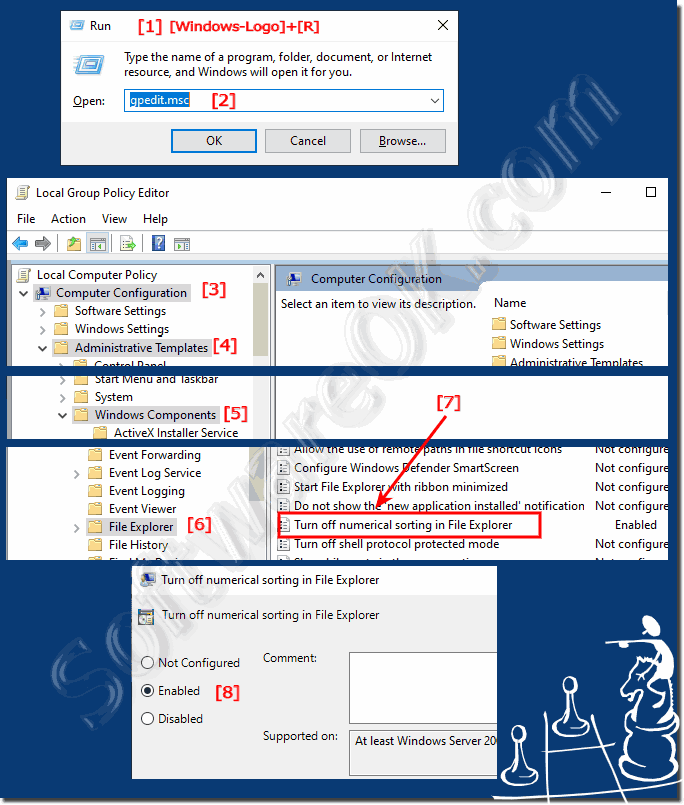 The numerical file sorting under Windows 10 via group guidelines!