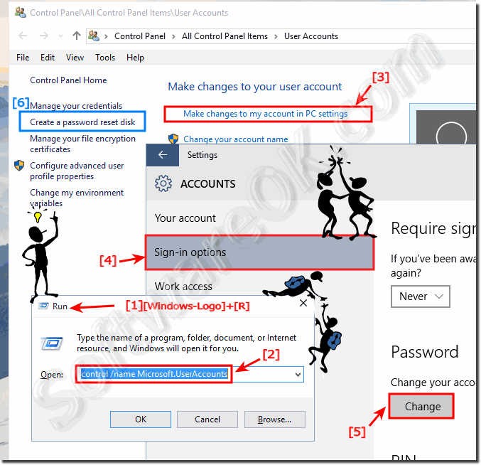 Windows 10 change password or set new password!