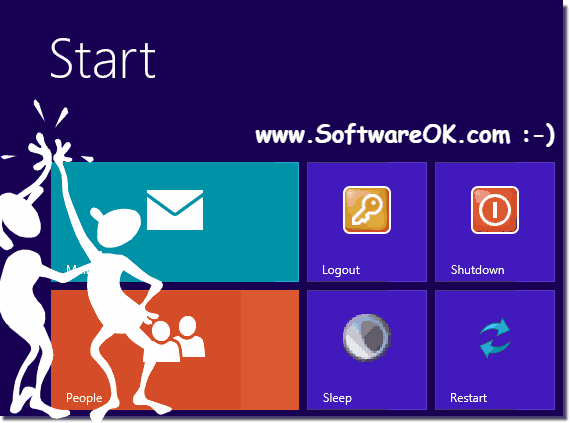 Shortcut in Windows-8 Start Menu (shutdown, log off, restart)