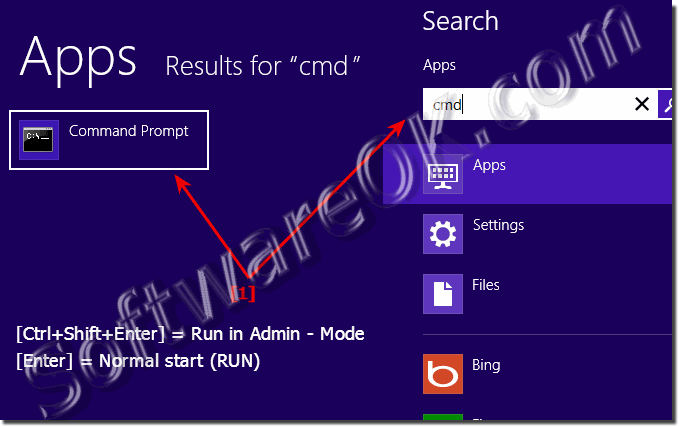 Start the Windows 8 cmd.exe in administrator mode