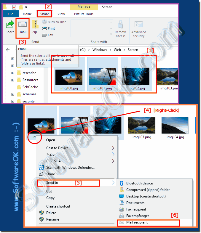 Send by email in the File Explorer on Windows 10!