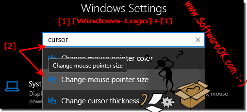 Windows 10: customize the cursor size in text editors if is it too!