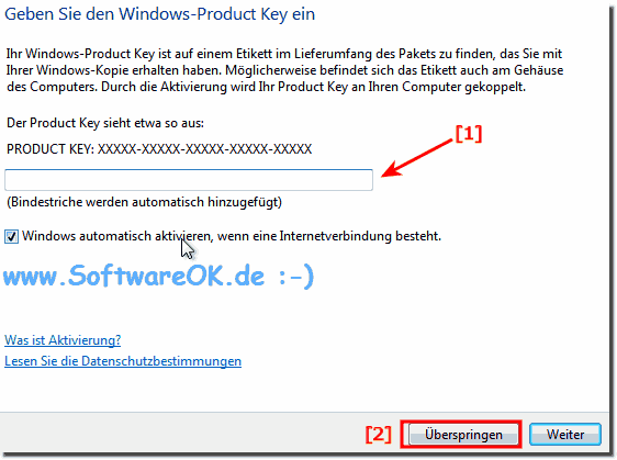 Product Key Windows 7 Skip!