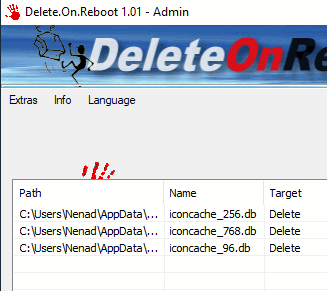 Delete files, directories, folders at reboot