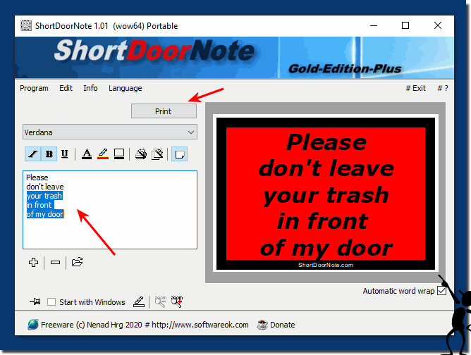 Create real and digital door notes that are easy to recognize!