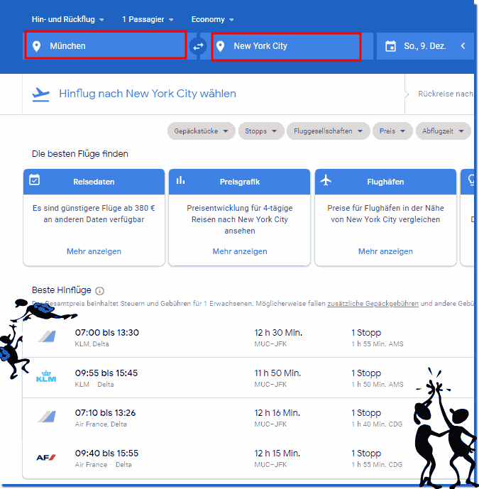 Example result google flights service from Munich to New York!