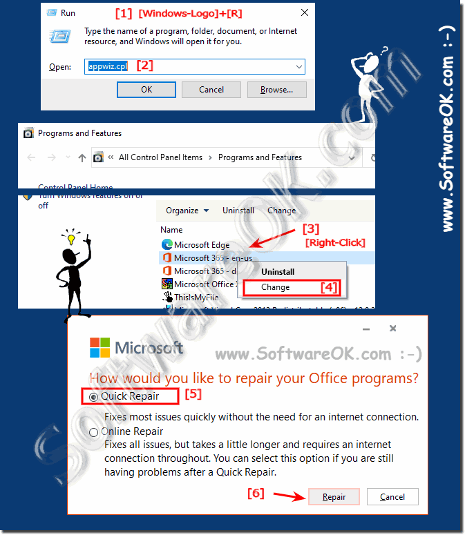 Easy repair the Microsofts Office 365, 2019, ...!