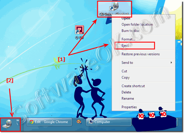 Eject the CD or DVD Disk in Windows-7 and 8.1