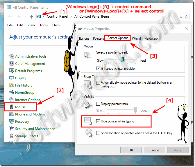 Windows-10 hide the mouse pointer while typing!
