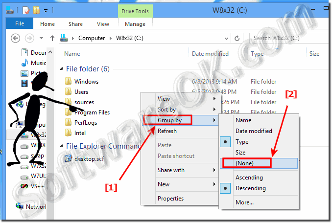 Disable folder grouping in Windows 8 (remove, turn off)?