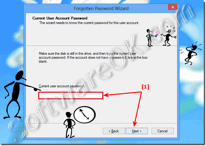 Enter current user account password for reset Disk in Windows 8.1!