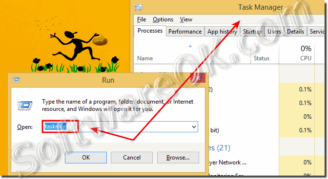 Open the Task Manager via Windows RUN-Dialog!