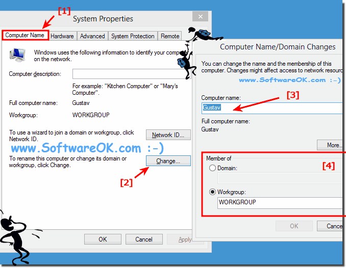 Windows-8 : Computer Name Workgroup Domain Changes