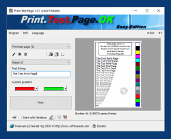 Alternative test page printout for Windows OS